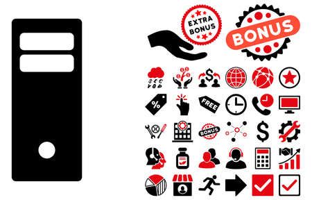 mainframe: Computer Mainframe pictograph with bonus symbols. Glyph illustration style is flat iconic bicolor symbols, intensive red and black colors, white background.