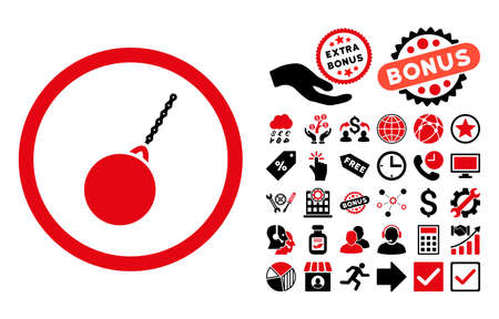 housebreaking: Destruction Hammer icon with bonus symbols. Glyph illustration style is flat iconic bicolor symbols, intensive red and black colors, white background.