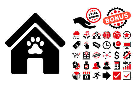 doghouse: Doghouse pictograph with bonus icon set. Glyph illustration style is flat iconic bicolor symbols, intensive red and black colors, white background.