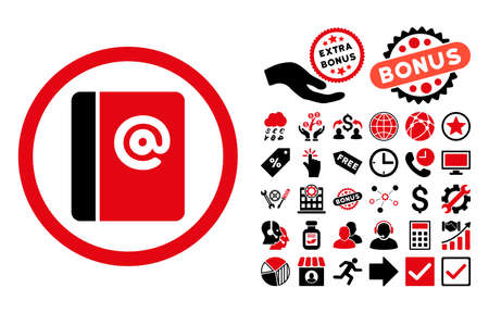 Emails pictograph with bonus pictograph collection. Glyph illustration style is flat iconic bicolor symbols, intensive red and black colors, white background.