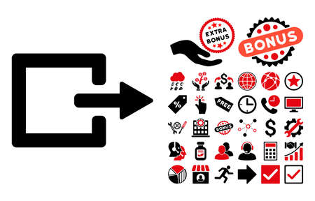 log out: Exit icon with bonus pictures. Glyph illustration style is flat iconic bicolor symbols, intensive red and black colors, white background.