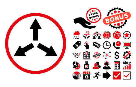 center position: Expand Arrows pictograph with bonus pictograph collection. Glyph illustration style is flat iconic bicolor symbols, intensive red and black colors, white background.
