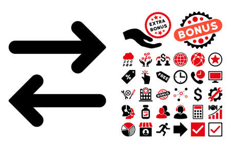 Flip Horizontal pictograph with bonus clip art. Glyph illustration style is flat iconic bicolor symbols, intensive red and black colors, white background.