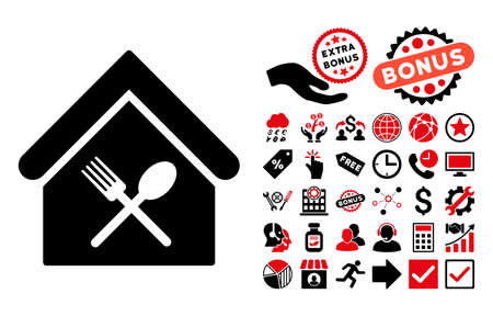 food court: Food Court pictograph with bonus clip art. Glyph illustration style is flat iconic bicolor symbols, intensive red and black colors, white background. Stock Photo