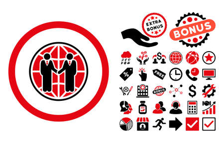 global partnership: Global Partnership icon with bonus pictogram. Glyph illustration style is flat iconic bicolor symbols, intensive red and black colors, white background.
