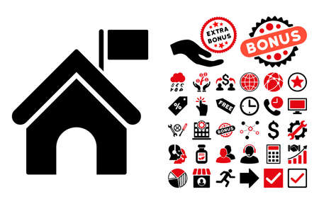 administer: Government Building pictograph with bonus images. Glyph illustration style is flat iconic bicolor symbols, intensive red and black colors, white background.