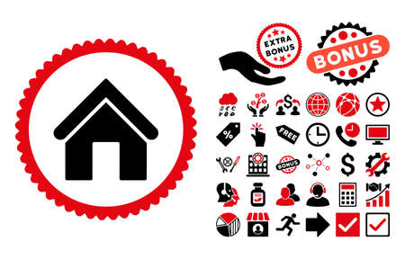 Home pictograph with bonus pictograph collection. Glyph illustration style is flat iconic bicolor symbols, intensive red and black colors, white background.