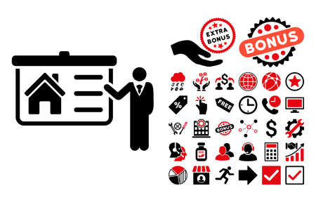 presentaion: House Presentation icon with bonus pictures. Glyph illustration style is flat iconic bicolor symbols, intensive red and black colors, white background.