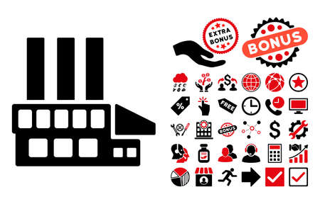 config: Industrial Building icon with bonus icon set. Glyph illustration style is flat iconic bicolor symbols, intensive red and black colors, white background. Stock Photo