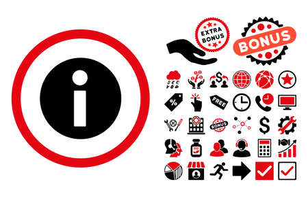 information icon: Information icon with bonus pictogram. Glyph illustration style is flat iconic bicolor symbols, intensive red and black colors, white background.