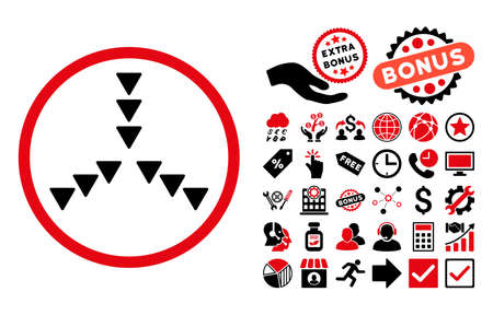Inside Direction icon with bonus pictograph collection. Glyph illustration style is flat iconic bicolor symbols, intensive red and black colors, white background.