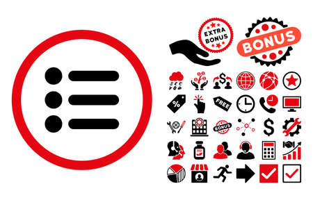 item list: Items icon with bonus images. Glyph illustration style is flat iconic bicolor symbols, intensive red and black colors, white background.