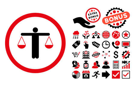 Lawyer pictograph with bonus images. Glyph illustration style is flat iconic bicolor symbols, intensive red and black colors, white background. Stock Photo