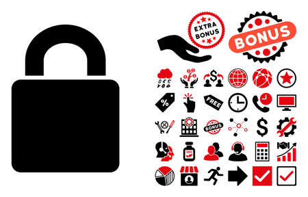 black and white lock: Lock icon with bonus pictogram. Glyph illustration style is flat iconic bicolor symbols, intensive red and black colors, white background. Stock Photo