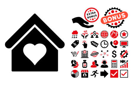 brothel: Love House pictograph with bonus pictogram. Glyph illustration style is flat iconic bicolor symbols, intensive red and black colors, white background. Stock Photo
