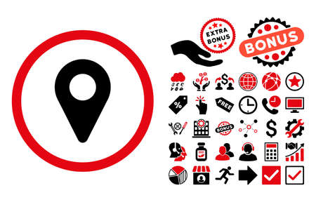 Map Marker pictograph with bonus symbols. Glyph illustration style is flat iconic bicolor symbols, intensive red and black colors, white background. Stock Photo