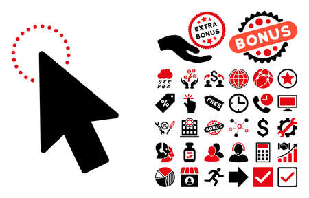 mouse pointer: Mouse Pointer icon with bonus design elements. Glyph illustration style is flat iconic bicolor symbols, intensive red and black colors, white background.