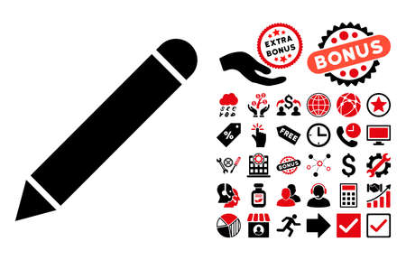glyph: Pencil icon with bonus elements. Glyph illustration style is flat iconic bicolor symbols, intensive red and black colors, white background.
