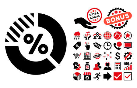 intensive: Percent icon with bonus images. Glyph illustration style is flat iconic bicolor symbols, intensive red and black colors, white background.