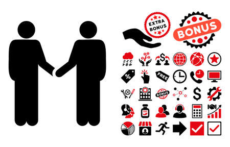 handclasp: Persons Handshake icon with bonus images. Glyph illustration style is flat iconic bicolor symbols, intensive red and black colors, white background.