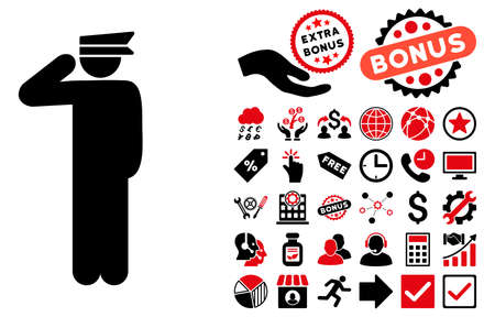 constable: Police Officer pictograph with bonus elements. Glyph illustration style is flat iconic bicolor symbols, intensive red and black colors, white background. Stock Photo