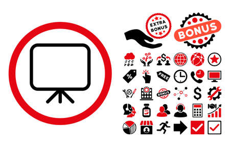 Presentation Screen pictograph with bonus clip art. Glyph illustration style is flat iconic bicolor symbols, intensive red and black colors, white background.