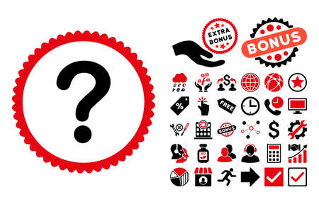 Question icon with bonus elements. Glyph illustration style is flat iconic bicolor symbols, intensive red and black colors, white background.