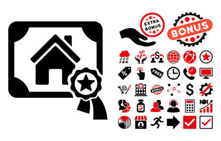 real trophy: Realty Certification pictograph with bonus elements. Glyph illustration style is flat iconic bicolor symbols, intensive red and black colors, white background.