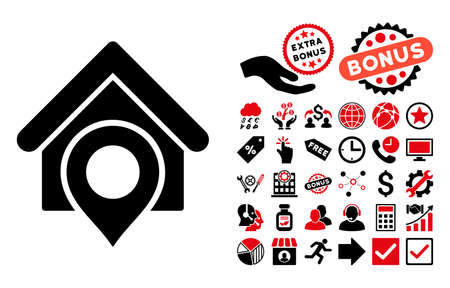 realty: Realty Location icon with bonus pictograph collection. Glyph illustration style is flat iconic bicolor symbols, intensive red and black colors, white background. Stock Photo