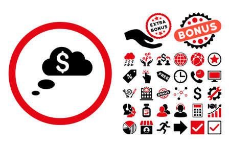 richness: Richness Dream Clouds pictograph with bonus images. Glyph illustration style is flat iconic bicolor symbols, intensive red and black colors, white background.
