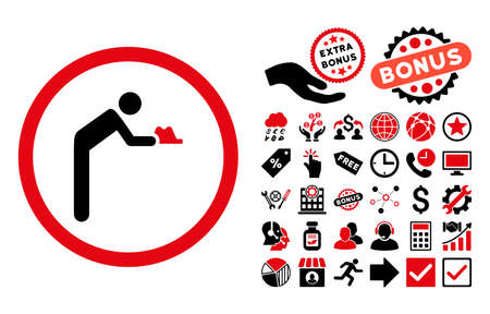 beggary: Servant pictograph with bonus pictogram. Glyph illustration style is flat iconic bicolor symbols, intensive red and black colors, white background.