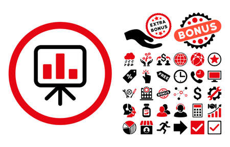 slideshow: Slideshow Screen icon with bonus elements. Glyph illustration style is flat iconic bicolor symbols, intensive red and black colors, white background.