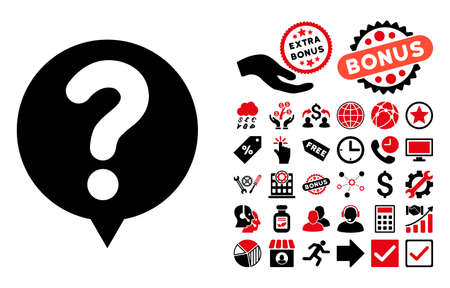 test probe: Status Balloon pictograph with bonus pictures. Glyph illustration style is flat iconic bicolor symbols, intensive red and black colors, white background.