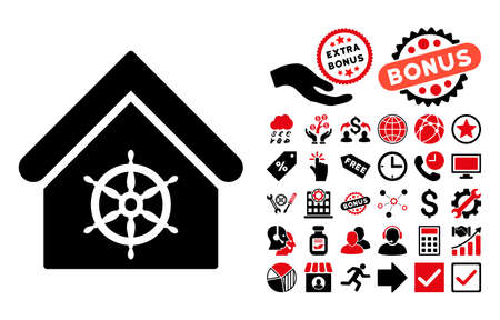 government regulations: Steering Wheel House icon with bonus design elements. Glyph illustration style is flat iconic bicolor symbols, intensive red and black colors, white background.