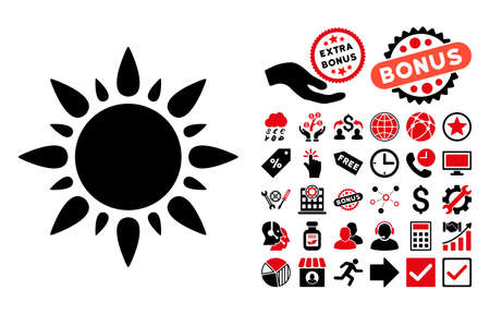 Sun pictograph with bonus pictogram. Glyph illustration style is flat iconic bicolor symbols, intensive red and black colors, white background.