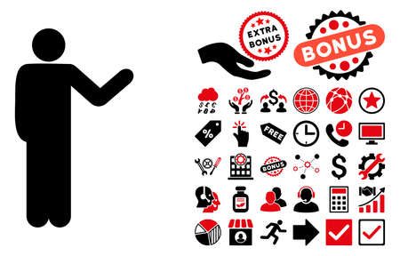talker: Talking Man icon with bonus pictogram. Glyph illustration style is flat iconic bicolor symbols, intensive red and black colors, white background.