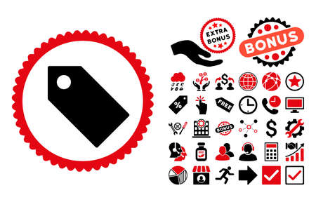 operand: Tag pictograph with bonus symbols. Glyph illustration style is flat iconic bicolor symbols, intensive red and black colors, white background. Stock Photo