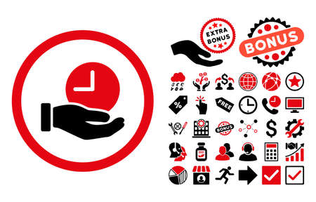 Time Service icon with bonus pictures. Glyph illustration style is flat iconic bicolor symbols, intensive red and black colors, white background.
