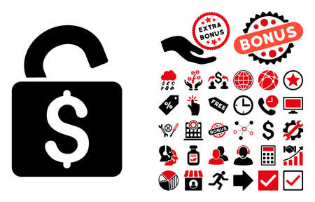 black and white lock: Unlock Banking Lock pictograph with bonus design elements. Glyph illustration style is flat iconic bicolor symbols, intensive red and black colors, white background. Stock Photo