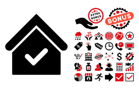 agency agreement: Valid House pictograph with bonus icon set. Glyph illustration style is flat iconic bicolor symbols, intensive red and black colors, white background.