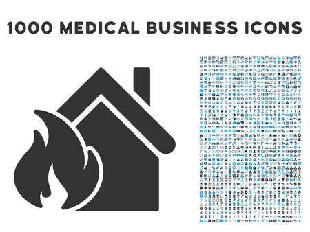 misadventure: Realty Fire Disaster icon with 1000 medical commercial gray and blue glyph pictograms. Collection style is flat bicolor symbols, white background. Stock Photo