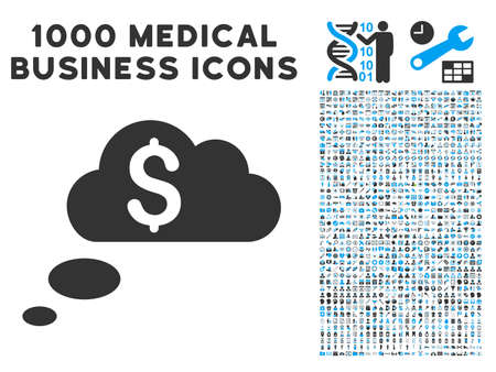 richness: Richness Dream Clouds icon with 1000 medical business gray and blue glyph design elements. Set style is flat bicolor symbols, white background.