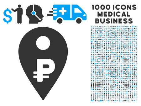 symbols commercial: Rouble Map Marker icon with 1000 medical commercial gray and blue glyph pictographs. Collection style is flat bicolor symbols, white background.