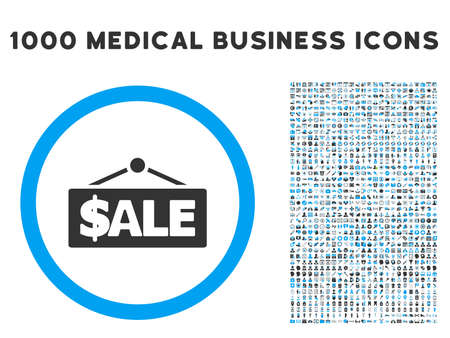 symbols commercial: Sale Label icon with 1000 medical commercial gray and blue glyph design elements. Clipart style is flat bicolor symbols, white background.