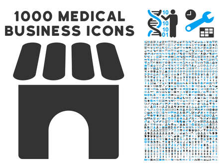 symbols commercial: Shop icon with 1000 medical commercial gray and blue glyph pictographs. Design style is flat bicolor symbols, white background.