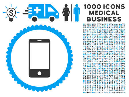 Smartphone icon with 1000 medical business gray and blue glyph pictograms. Clipart style is flat bicolor symbols, white background.