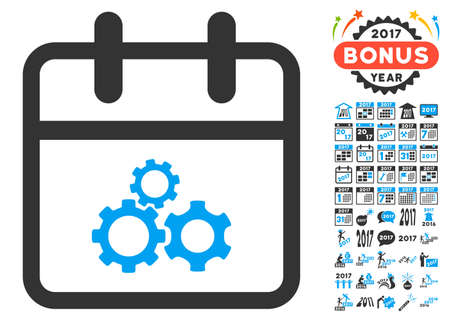 gear box: Mechanics Day icon with bonus 2017 year pictures. Vector illustration style is flat iconic symbols, white background.