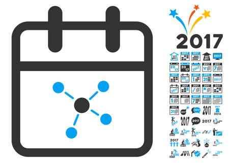schedule system: Scheme Day pictogram with bonus 2017 year images. Vector illustration style is flat iconic symbols, white background. Illustration