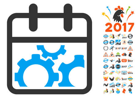 gear box: Technical Day pictograph with bonus 2017 year icon set. Vector illustration style is flat iconic symbols, white background.