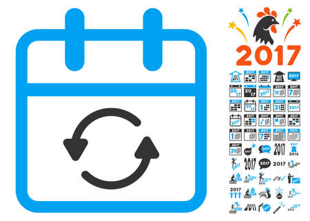 Update Day pictograph with bonus 2017 pictograph collection. Vector illustration style is flat iconic symbols, white background. Vetores
